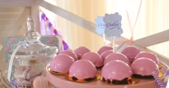 Pink cake pops on a dessert table at party or wedding celebration Stock Footage