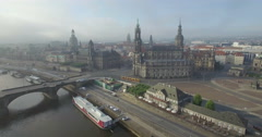Aerial camera moves towards Katholische Hofkirche Dresden Stock Footage