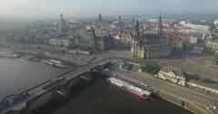 Aerial camera moves towards Katholische Hofkirche Dresden Stock Footage