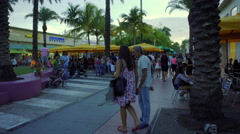 People shopping at Miami Beach Stock Footage