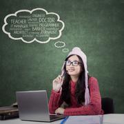 High school student thinks her dream jobs Stock Photos