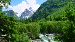 Mountain valley with river and forest in Kavkaz region Stock Footage