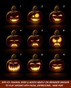 Dark Jack O Lantern Cartoon - 9 Vampire Expressions Set Piirros