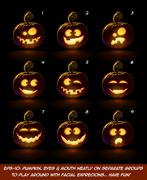 Dark Jack O Lantern Cartoon - 9 Angry Expressions Stock Illustration