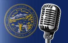Nebraska Flag And Microphone - stock illustration