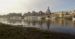 Aerial camera skims over River Elbe in Dresden Stock Footage