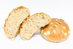 Whole wheat bread on white background Stock Photos