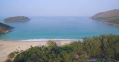Naiharn Beach and Buddhist Temple in Southern Phuket Thailand, Pullback Shot Stock Footage