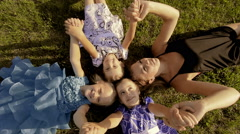 Mother with three daughters happy Stock Footage