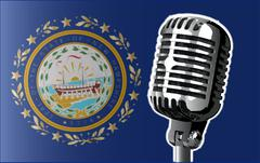 New Hampshire Flag And Microphone Stock Illustration