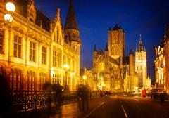 Saint Nicholas Church and Belfry tower, Gent Stock Photos