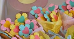 Sugar cookies shaped like flowers Stock Footage