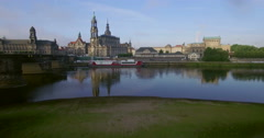 Aerial camera rises over the Elbe River, Dresden Stock Footage