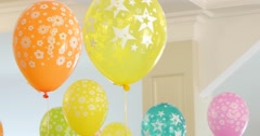 Children's room decorated with balloons ready for the holiday, nobody Stock Footage