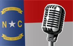 North Carolina Flag And Microphone Piirros
