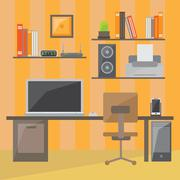 Modern office interior in flat design Stock Illustration