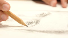 Artist Drawing  Sketch of a person, Close Up Stock Footage