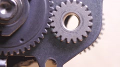 Cogwheels in connection with each other, macro closeup Stock Footage