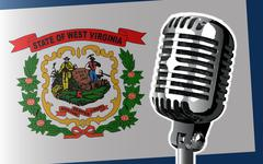 West Virginia Flag And Microphone - stock illustration