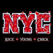 T shirt typography graphic New York chic hearts Stock Illustration