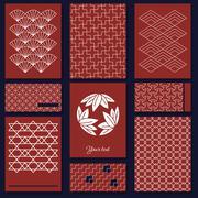 Japanese sashiko motif. business card template. asian pattern. Abstract backdrop - stock illustration