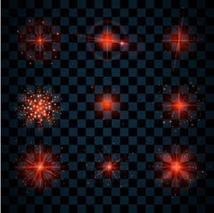 Shine red stars glitters sparkles icons Stock Illustration