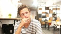 Depressed man thinking  - stock footage