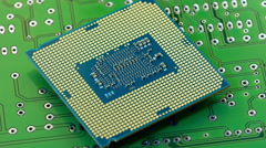Rotating cpu on printed circuit board Stock Footage