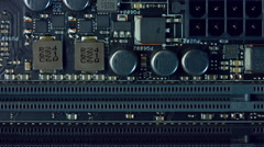 Flyover a computer motherboard 1/6 Stock Footage