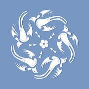 Japanese sashiko birds motif. asian pattern. Abstract backdrop. Needlework - stock illustration