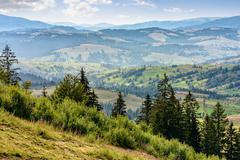 classic Carpathian mountain  landscape in summer - stock photo