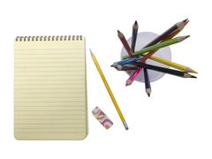 Blank notepad and pencils Stock Photos
