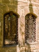 Antique windows in the old city of Jaffa Stock Photos