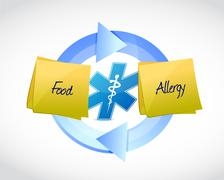 Food allergy blue cycle sign concept Stock Illustration