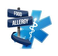Food allergy road sign illustration concept design Stock Illustration
