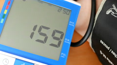 Close up blood pressure displayed on monitor with 4k resolution - stock footage