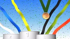 Sport 3d podium for winners and medal award ceremony Stock Footage