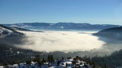 Donner Lake Foggy Winter Morning Stock Footage