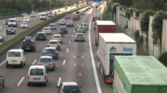 Safeguarding an accident scene on German highway Stock Footage