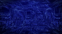 In the blue techno box. Slow Rotation. Stock Footage