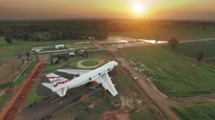 BOEING 747  in sunset, Aerial View 4k 3840x2160 - stock footage