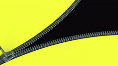 Zipper on yellow material closes and opens. Stock Footage