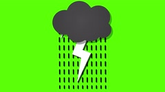 cartoon animated thundercloud loop green screen - stock footage