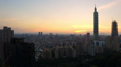 Timelapse Aerial day to night, Cityscape with the building Taipei 101-Dan Stock Footage