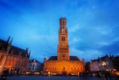 Belfry of Bruges at Grote Markt, Belgium Stock Photos