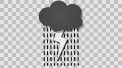 Cartoon animated thundercloud loop with alpha channel Stock Footage