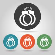 Flat police handcuffs icons set. - stock illustration