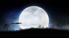 Monster Silhouette Parade Full Moon Happy Halloween 4K Loop - stock footage