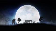 Monster Silhouette Parade Full Moon 4K Loop - stock footage