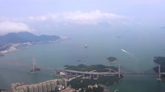 4K Aerial view of the Hong Kong bridge road and ocean from above with clouds-Dan - stock footage